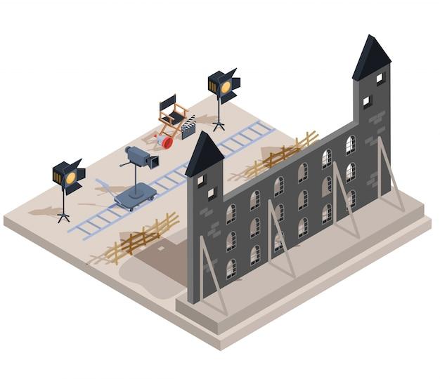 Vector isometrische darstellung eines filmsatzes mit einem satz von filmemacherelementen Kostenlosen Vektoren