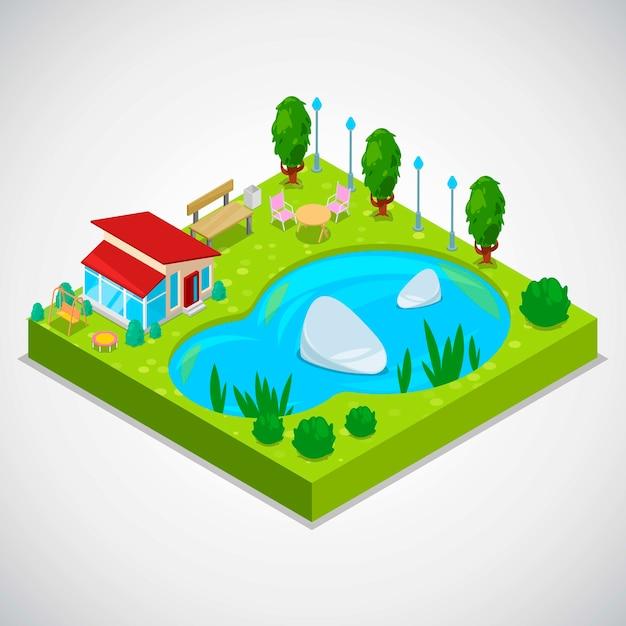 Vector isometrische illustration 3d des landhäuschens mit grünem gras Premium Vektoren