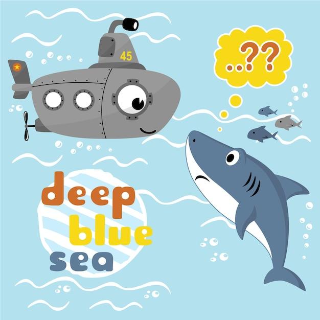Vector karikatur des unterseeboots und des haifischs unter blauem meer Premium Vektoren