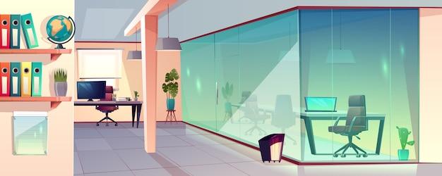 Vector karikaturillustration des hellen büros, des modernen arbeitsplatzes mit transparenter glaswand und der fliese Kostenlosen Vektoren
