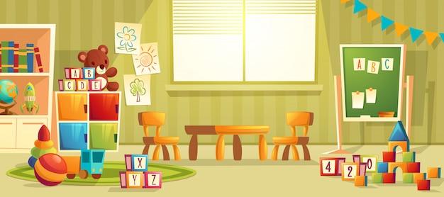 Vector Karikaturillustration des leeren Kindergartenraumes mit Möbeln und Spielwaren für junge Kinder. N Kostenlose Vektoren