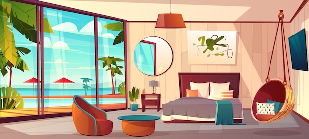 Vector karikaturinnenraum des gemütlichen hotelschlafzimmers mit möbeln Kostenlosen Vektoren