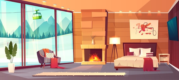 Vector karikaturinnenraum des luxushotelschlafzimmers mit möbeln Kostenlosen Vektoren