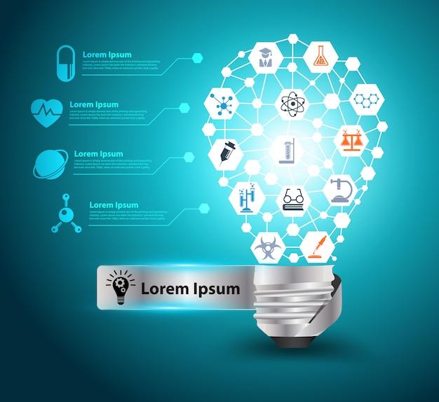 Vector kreative glühlampeidee mit chemie- und wissenschaftsikone Premium Vektoren