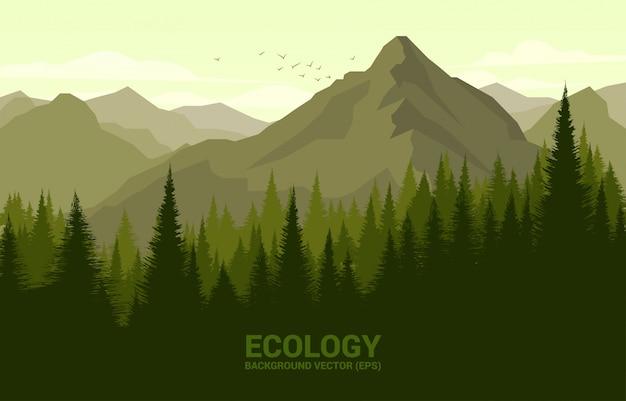 Vector landschaft des grünen waldes und des großen berges, illustrationskonzept für natürliche und frühlingszeit. Premium Vektoren