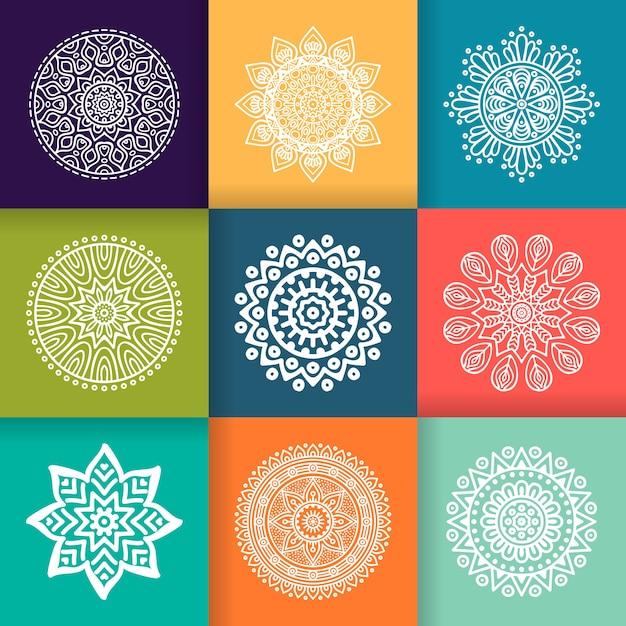 Vector Mandala Runde Ornament im ethnischen Stil Hand zeichnen Kostenlose Vektoren