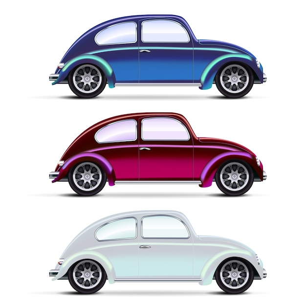 Vector mesh realistische mehrfarbige alte autos auf weiß Kostenlosen Vektoren