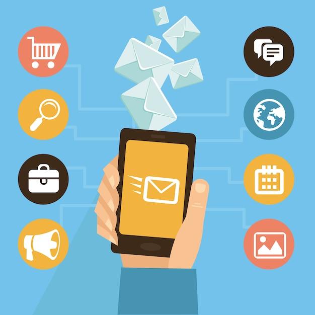 Vector mobile app - e-mail-marketing und werbung - infografiken im flachen stil Premium Vektoren