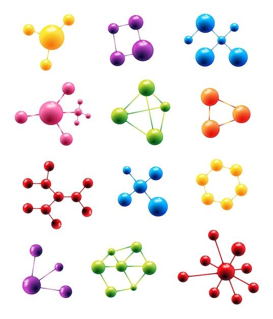 Vector molekülstrukturmodellzeichen Premium Vektoren