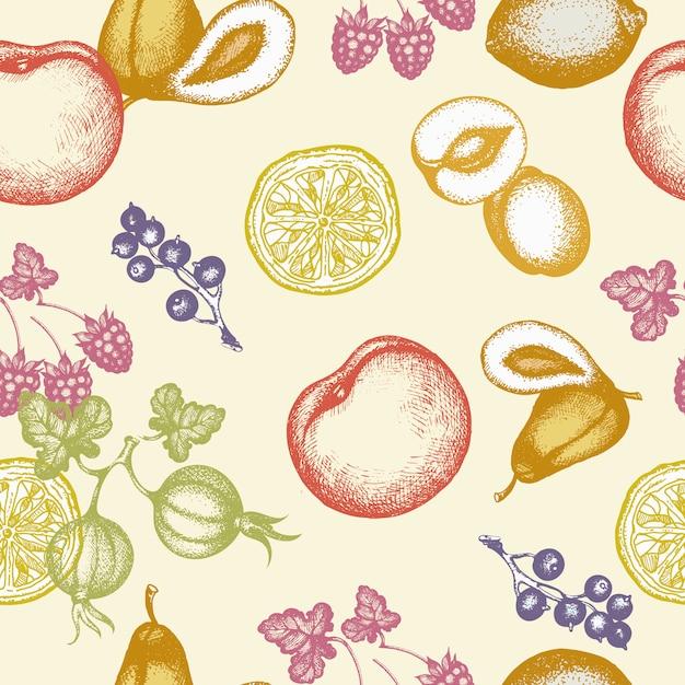 Vector nahtlose gezeichnete vektorillustration der mustertinte der früchte hand Premium Vektoren