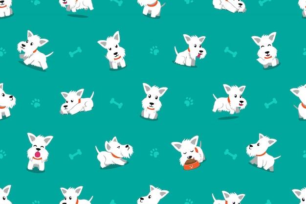 Vector nahtlosen musterhintergrund der zeichentrickfilm-figur weißen schottischen terrierhundes Premium Vektoren
