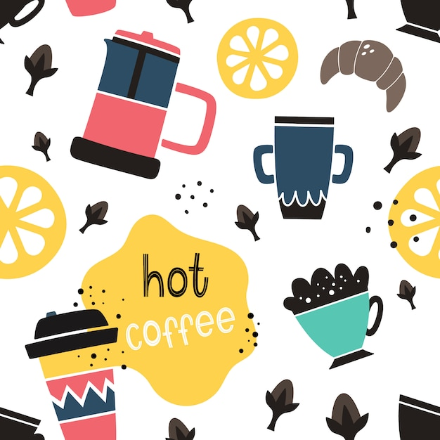 Vector nahtloses kaffeemuster in der gekritzel- und karikaturart Premium Vektoren