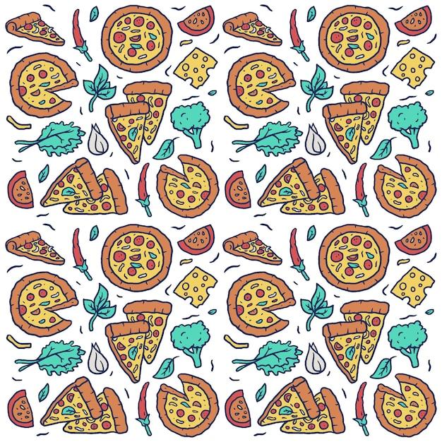 Vector nahtloses muster der hand gezeichneten bunten pizza Premium Vektoren
