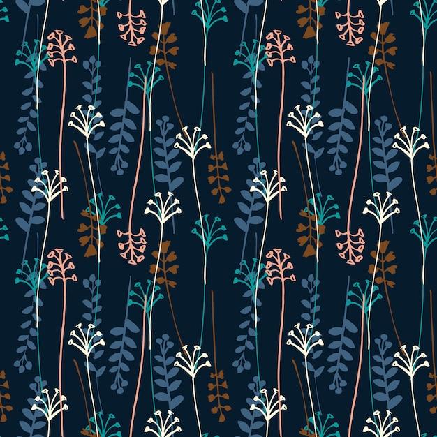 Vector nahtloses muster mit der hand, die wild wachsende pflanzen, kräuter und blumen zeichnet. Premium Vektoren