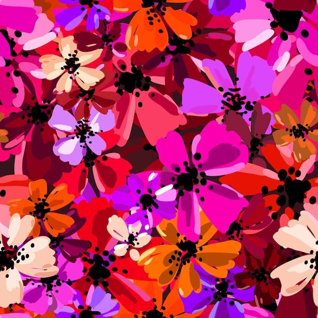 Vector nahtloses muster mit handzeichnungsblumen, wiederholbarer botanischer hintergrund. Premium Vektoren