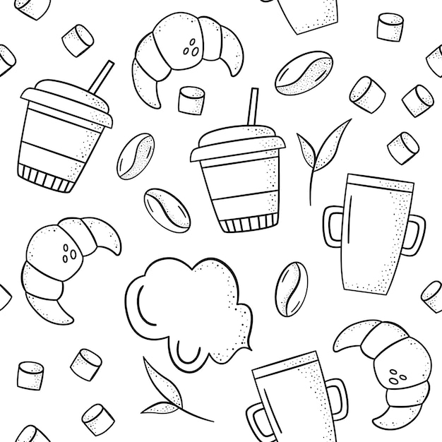 Vector nahtloses muster mit hörnchen, kaffeebohnen, bechern, eibisch, minze. Premium Vektoren