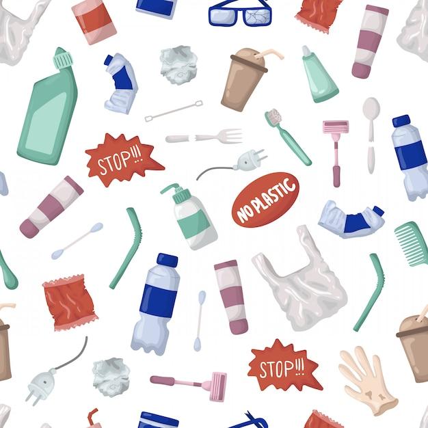 Vector nahtloses muster - plastikabfall oder abfall, bootles Premium Vektoren