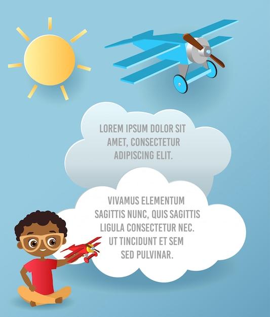 Vector papierkunst des wolken- und flugzeugfliegens im himmel. template-werbung Premium Vektoren