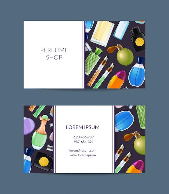 Vector parfümflasche-visitenkarte für duftshopillustration Premium Vektoren