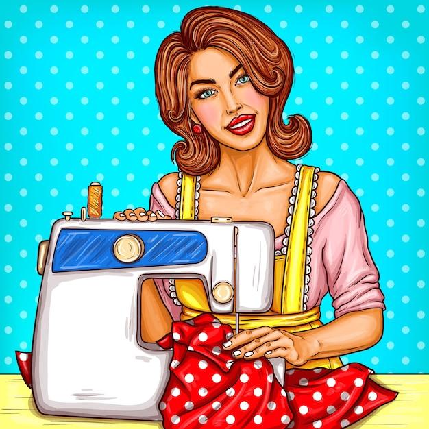 Vector pop art illustration einer jungen frau schneiderin nähen auf einer nähmaschine Kostenlosen Vektoren