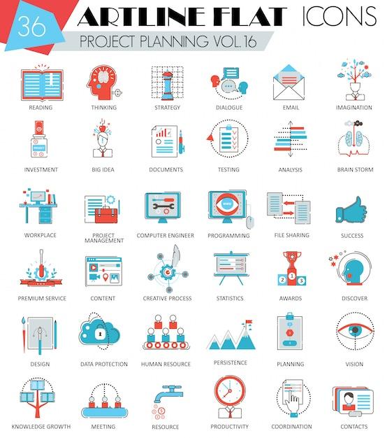 Vector projektgeschäftsplanung, die ultra moderne flache linie ikonen der entwurfslinie für netz und apps plant. Premium Vektoren