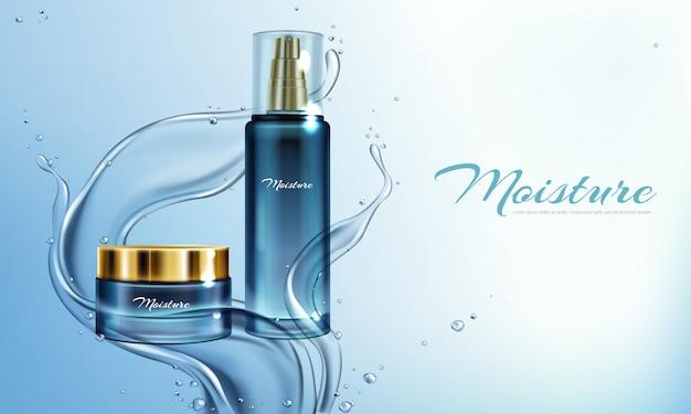 Vector realistische illustration 3d mit feuchtigkeitscreme, lotion im wasser spritzt. Kostenlosen Vektoren