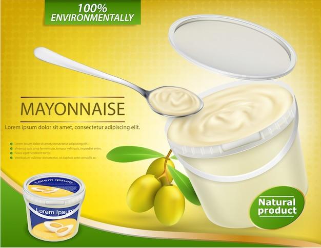 Vector realistische Poster mit einem Plastikeimer gefüllt mit Oliven-Mayonnaise und einem nahe gelegenen Zweig mit Oliven Kostenlose Vektoren