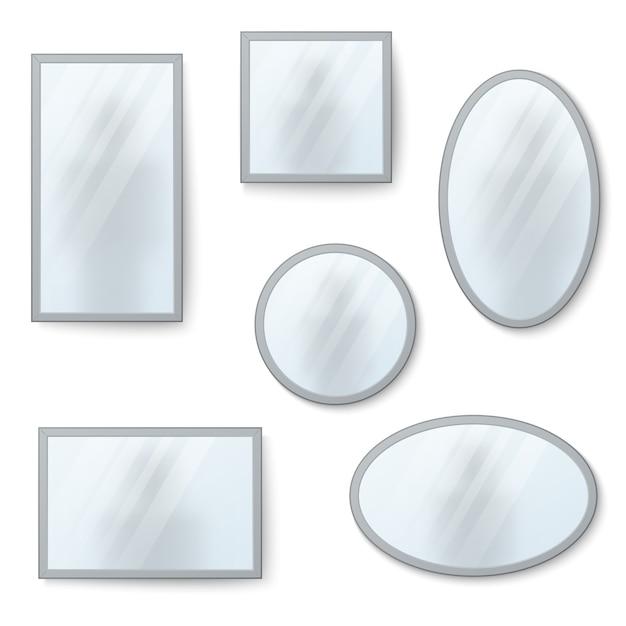 Vector realistische spiegel, die mit undeutlicher reflexion eingestellt werden Premium Vektoren