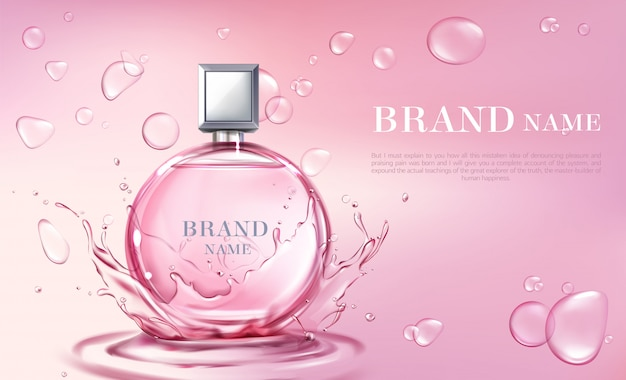 Vector realistisches plakat 3d, fahne mit parfümflasche Kostenlosen Vektoren