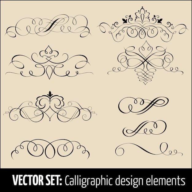 Vector reihe von kalligraphischen und seite dekoration design-elemente. elegante elemente für ihr design. Kostenlosen Vektoren