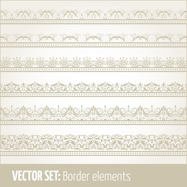Vector Reihe von Rand-Elemente und Seite Dekoration Elemente. Rahmendekoration Elemente Muster. Ethnische Grenzen Vektor Illustrationen. Kostenlose Vektoren