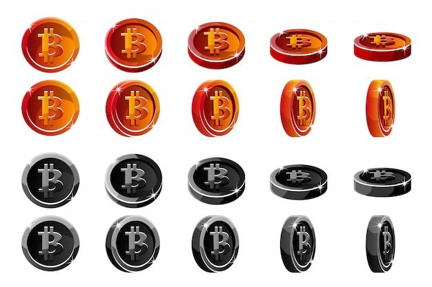 Vector rote und schwarze 3d bitcoin münzen der animationsrotation. digitale oder virtuelle währungen und elektronisches bargeld. Premium Vektoren
