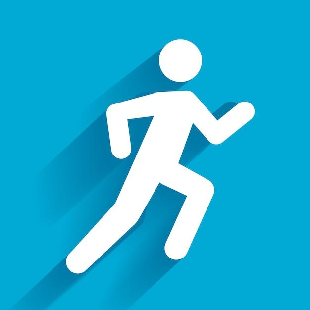 Vector running illustration, weißer mann auf blau Kostenlosen Vektoren