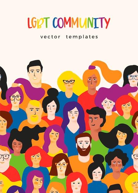 Vector schablone mit jungen männern und frauen in lgbt-farben. Premium Vektoren