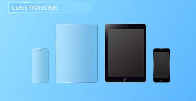 Vector schutzfolie oder glasabdeckung. bildschirm schützen glas. Premium Vektoren