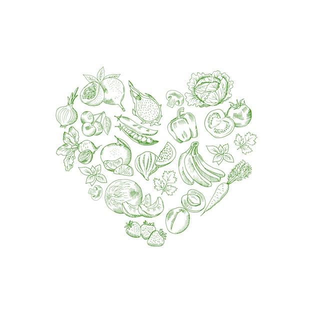Vector skizziertes frischgemüse und früchte in form der herzillustration, fahnenplakat des strengen vegetariers Premium Vektoren