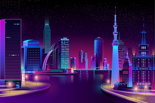 Vector stadt, megapolis am fluss in der nacht. Kostenlosen Vektoren