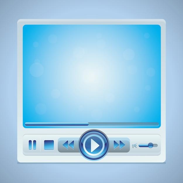 Vector video-player-schnittstelle mit glatten knöpfen in der blauen farbe Premium Vektoren