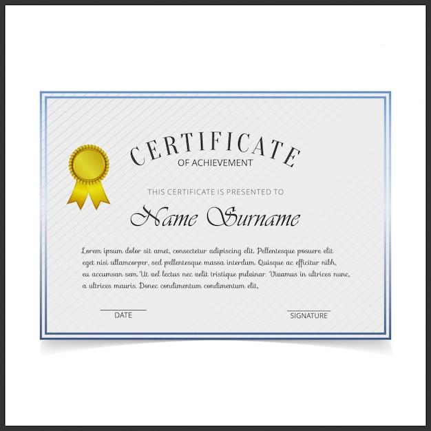 Vector Zertifikat Vorlage mit blauen Design Grenzen | Download der ...