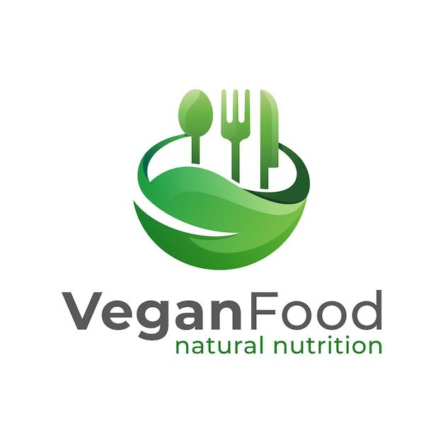 Vegan food restaurant logo, natürliche ernährung, gesundes essen und gesundes leben logo design vektor vorlage Premium Vektoren