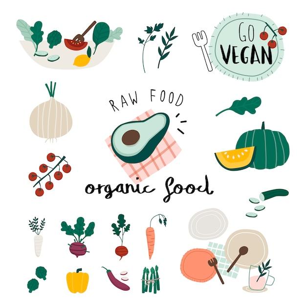 Vegane bio-lebensmittel eingestellt Kostenlosen Vektoren