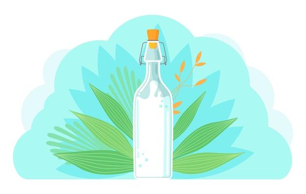 Vegane milch auf pflanzlicher basis. gesunde kuhalternative zu laktosemilch, einem umweltfreundlichen produkt, das laktosefrei ist Premium Vektoren