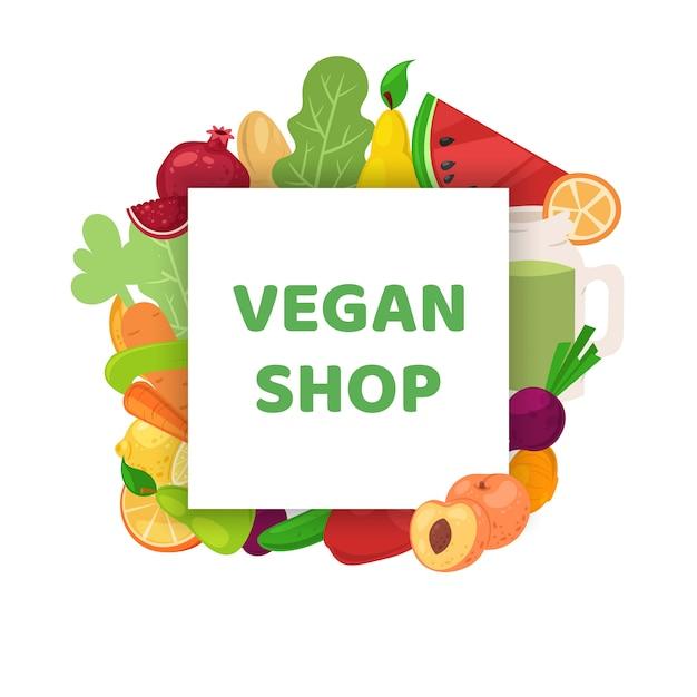 Veganer laden, gesunde lebensmittel-bannerillustration. vegetarische diät-karikatur, organischer grüner markt und natürliche ernährung. Premium Vektoren