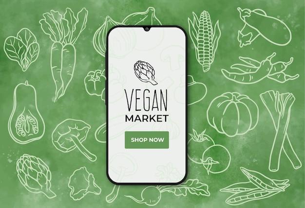 Veganer lebensmittelmarkt banner mit smartphone Kostenlosen Vektoren