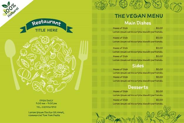 Veganes bio-menü. Premium Vektoren