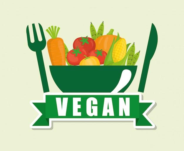 Veganes essen design Premium Vektoren