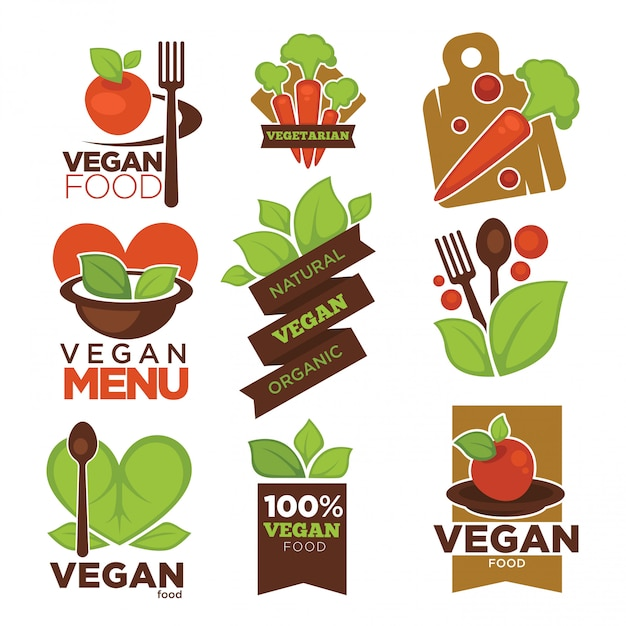 Vegetarische café- oder restaurantvektorikonen des strengen vegetariers Premium Vektoren
