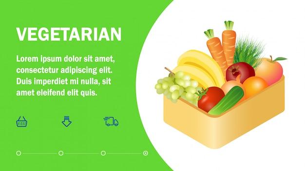 Vegetarische online-shop-landing-page-flat-vorlage Premium Vektoren