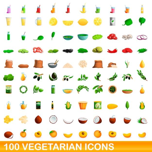 Vegetarische symbole festgelegt, cartoon-stil Premium Vektoren