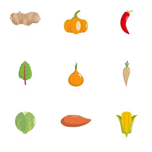 Vegetarische symbole festgelegt. flache reihe von 9 vegetarier icons Premium Vektoren